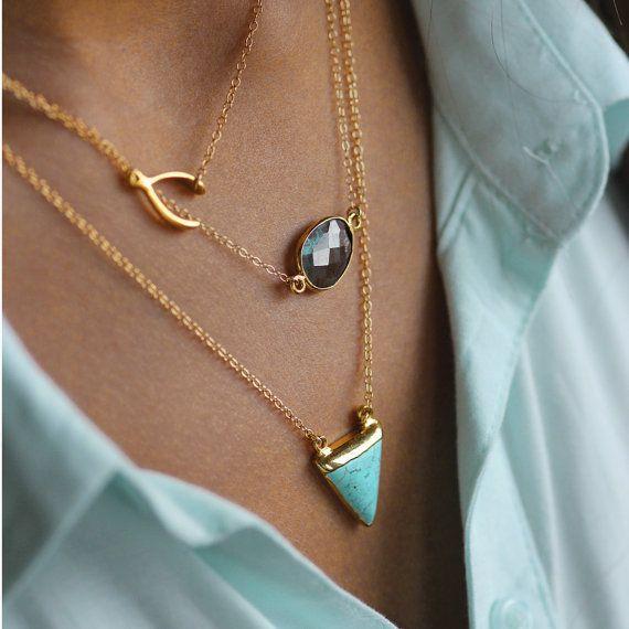 PURE 14k necklace with labradorite by koshikira on Etsy, $59.00