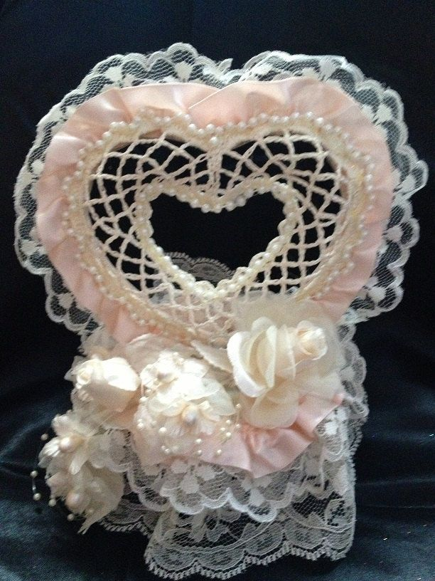 Peach and Ivory Heart Wedding Cake Topper by Unique Wedding Creations http://uniqueweddingcreations.com/