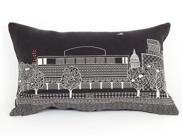 Southbank by Night cushion from the Scenic range. Machine embroidery on grey, 100% linen. Available to buy from:  Www.charlenemullen.com