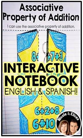 Interactive math notebook for addition & subtraction in English & Spanish (example associative property of addition activity)