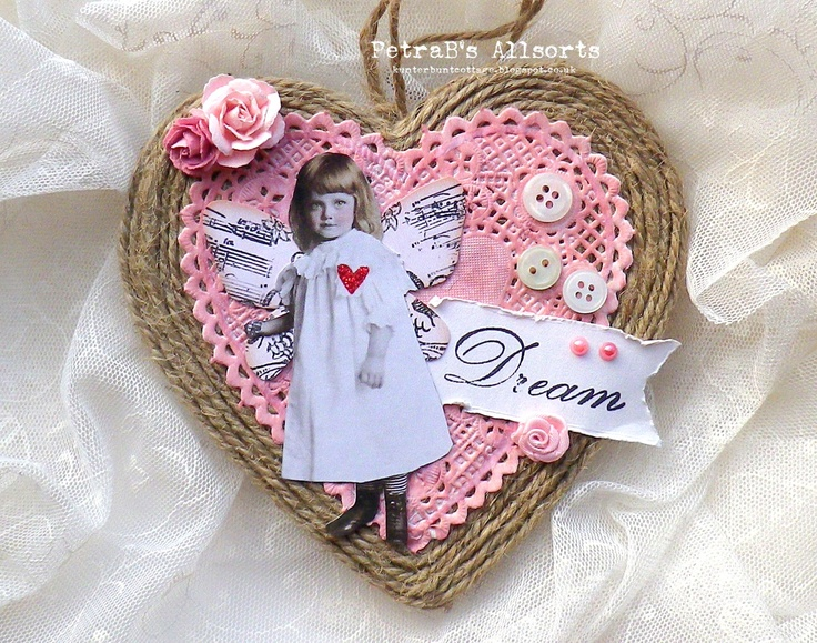Dream. images: PaperWhimsy - stamp: 7Gypsies, Elzybells, Kaiserkraft - wooden heart, twine - vintage buttons, half-pearls, mulberry and fabric flowers - book page, doily inked
