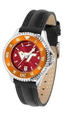 Virginia Tech Hokies Ladies Leather Wristwatch by SunTime. $78.95. Adjustable Band. Poly/Leather Band. Officially Licensed Virginia Tech Hokies Ladies Leather Wristwatch. Water Resistant. Women. Virginia Tech Hokies Ladies Leather Wristwatch with AnoChrome face. The Hokies wrist watch has functional rotating bezel color-coordinated with team logo. A durable, long-lasting combination nylon/leather strap, together with a date calendar make this the ultimate watch to...