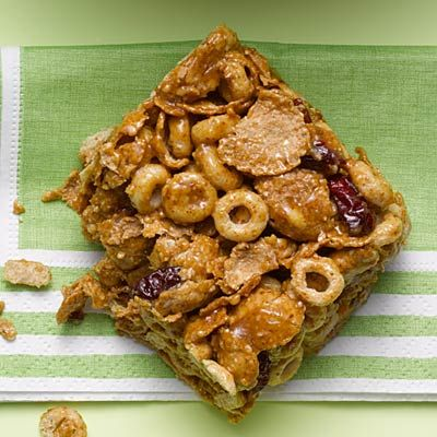Homemade cereal bars: Almond butter, honey, whole-grain cereal flakes, oat and bran O's cereal, dried cherries | health.com