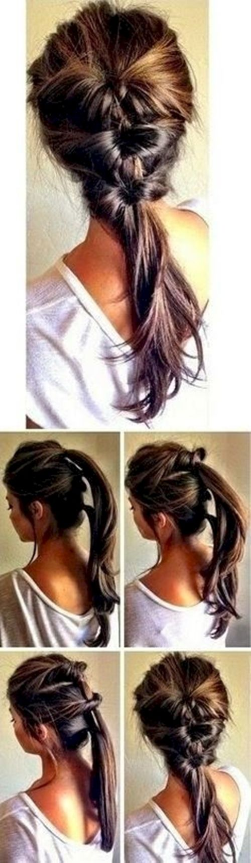 14 different ponytail styles here for you to try, each of which will work with a different length or style hair.