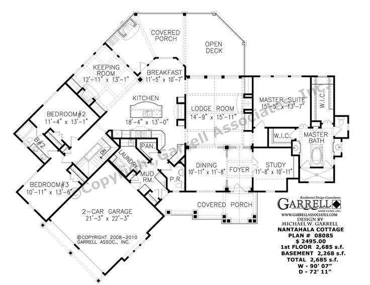 Nantahala cottage house plan 08085 1st floor plan Nantahala house plan