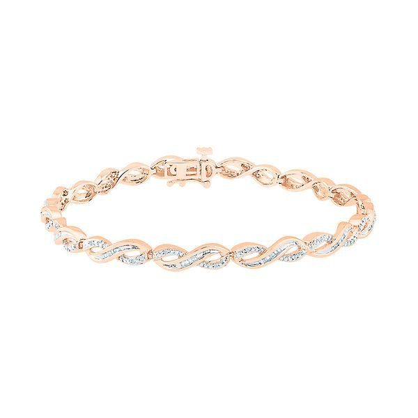 1 3 Ct Tw Diamond Bracelet In 10k Rose Gold Best Diamond Bracelets Gold