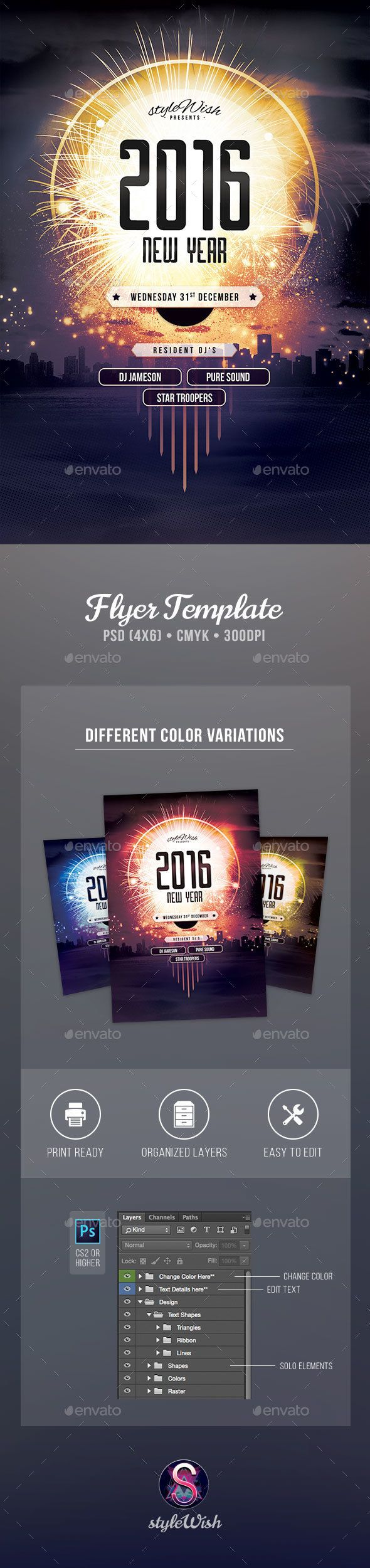 New Year Flyer Template PSD #design Download: http://graphicriver.net/item/new-year-flyer/13609453?ref=ksioks