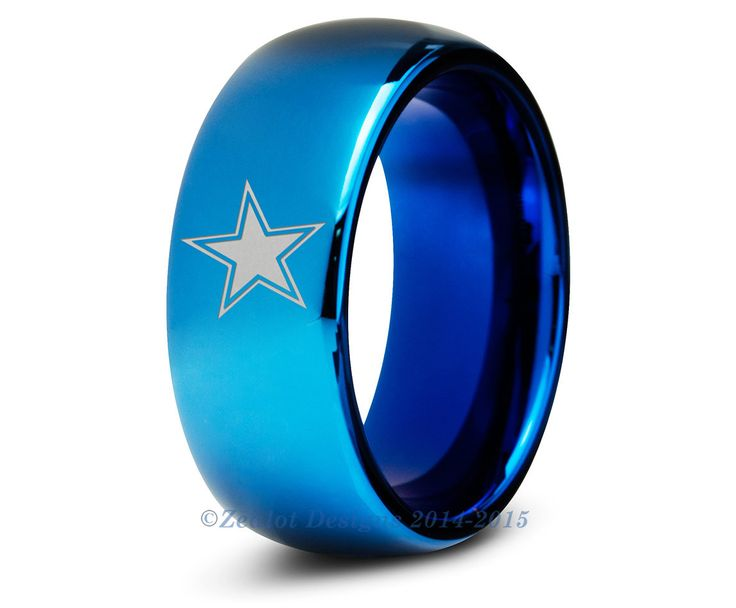 Dallas Cowboys Blue Tungsten Wedding Band Ring Mens Womens Polished Domed NFL Sports Fan Texas Anniversary ALL Custom Sizes Available