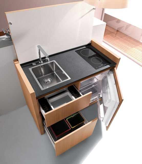 Compact Hyper-Equipped Kitchen K1 by Kitchoo -- Anyone who has ever lived in a Japanese or Korean apartment will appreciate this.