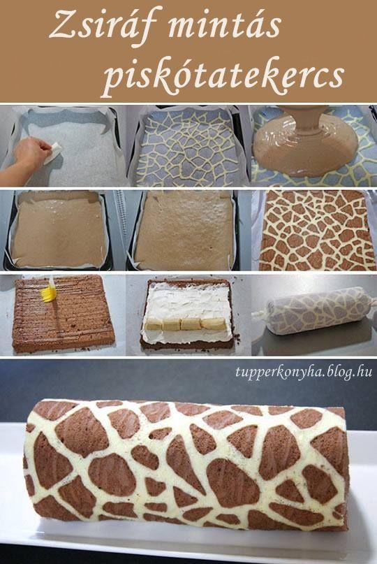 Zsiráf mintás piskótatekercs Tészta, amiből a minta készül: - 1 tojásfehérje…
