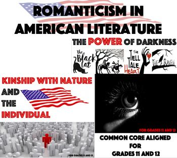 "Studying the Romantic Era in American Literature? You can't miss out on this bundle! Compare dark stories such as ""The Black Cat,"" ""The Tell-Tale Heart,"" ""The Legend of Sleepy Hollow,"" and the poem, ""The Raven."" AND compare texts such as ""Self-Reliance,"" ""Civil Disobedience,"" ""Nature,"" and ""Walden."" Not only will students be looking for elements and textual evidence, then there are two writing activities for each kind of writing from the era."