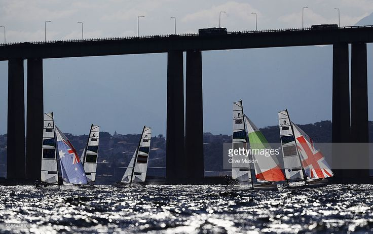 Jason Waterhouse of Australia and Lisa Darmanin of Australia, Vittorio Bissaro of Italy and Silvia Sicouri of Italy, and Ben Saxton of Great Britain and Nicola Groves of Great Britain compete in the Nacra 17 Mixed class on Day 6 of the Rio 2016 Olympics at Marina da Gloria on August 11, 2016 in Rio de Janeiro, Brazil.