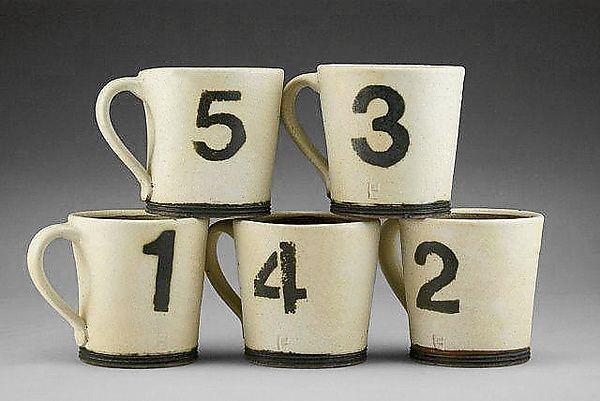 Number Mugs by Nathan  Falter: Ceramic Mug available at www.artfulhome.com