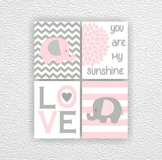 Baby Elephant Love You are my sunshine pink by myfavoritedecor
