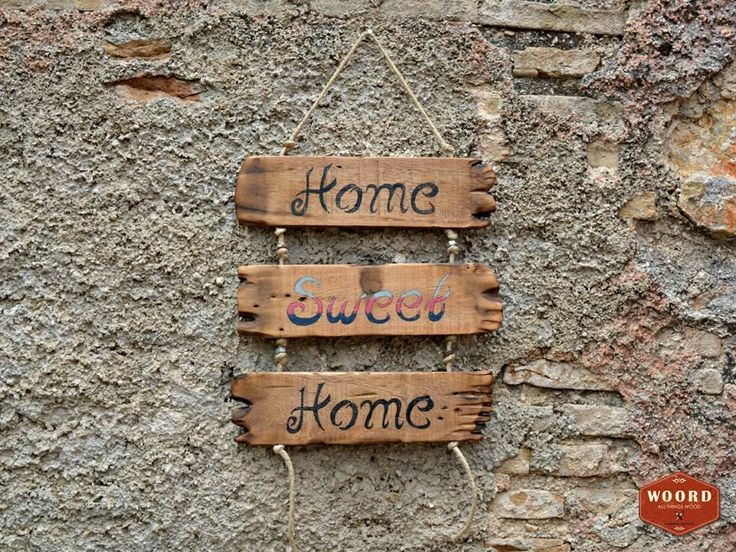 Rustic home decor Handwritten wooden decorative application, with rope and metallic elements. by WOORDshop on Etsy