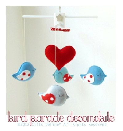 Musical Baby Mobile  BIRD PARADE with HEART (custom color listing) - Hanging Crib Mobile Handmade for Modern Nursery or Playroom Decor