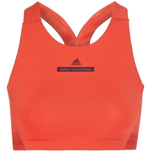 Adidas by Stella McCartney The HIIT cutout printed stretch sports bra (195 BRL) ❤ liked on Polyvore featuring activewear, sports bras, bright orange, adidas sportswear, orange sports bra, adidas activewear, adidas and adidas sports bra