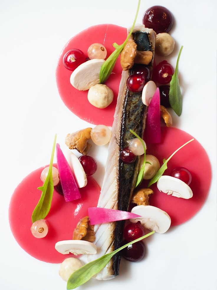 Marinated mackerel with sweet and sour sauce, charred skin, and gooseberry by chef Julien Montbabut of Le Restaurant in Paris, France. © Amy Murrell - See more at: http://theartofplating.com/editorial/julien-montbabut-of-le-restaurant-delicate-contemporary-and-colorful/#sthash.Q7qY07VU.dpuf