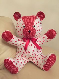 Teddy bear pattern--make using a favorite baby sleeper as a keepsake