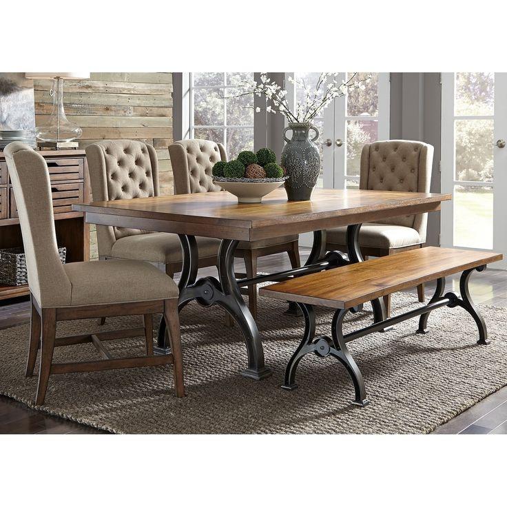 Liberty Arlington House Cobblestone 6-piece Trestle Table Set with Bench