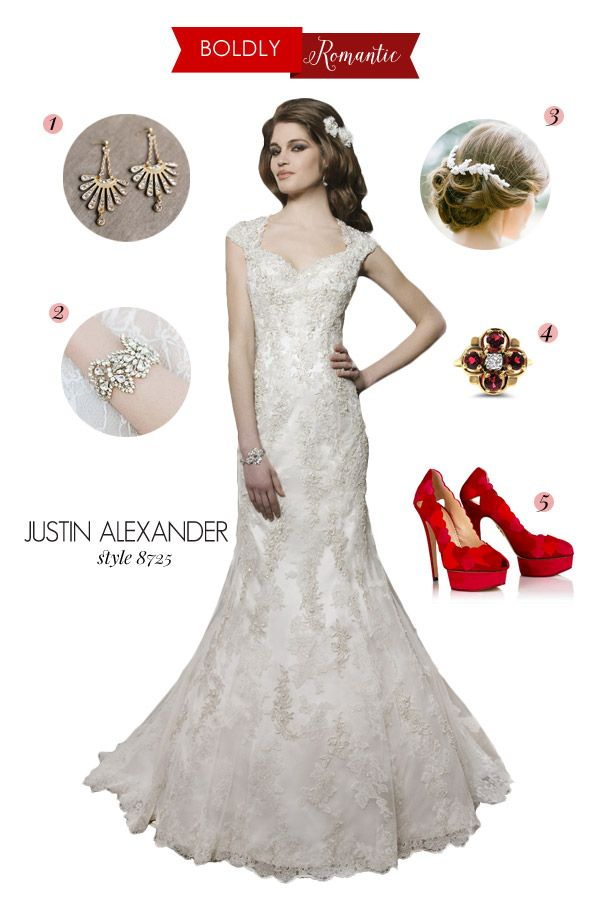 justin alexander wedding dress style 8725 queen anne neckline bold romantic bridal inspiration style board