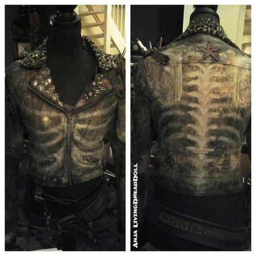 = LivingDreadDoll = / post apocalyptic skeleton leather jacket