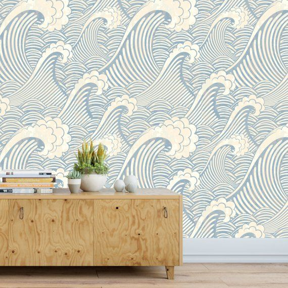 Japanese Wave The Great Wave Wallpaper Removable Etsy Waves Wallpaper Classic Wallpaper Bathroom Wallpaper Retro