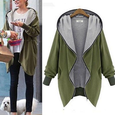 Autumn Women Casual Loose Oversize Hooded Jacket Long Zipper Outwear Windbreaker Coat Outfit Jackets Plus Size