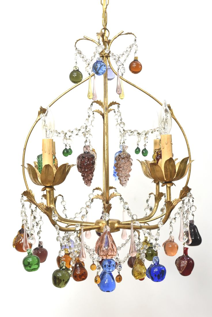 Colorful Vintage Italian Chandelier with Hanging Crystal Fruits