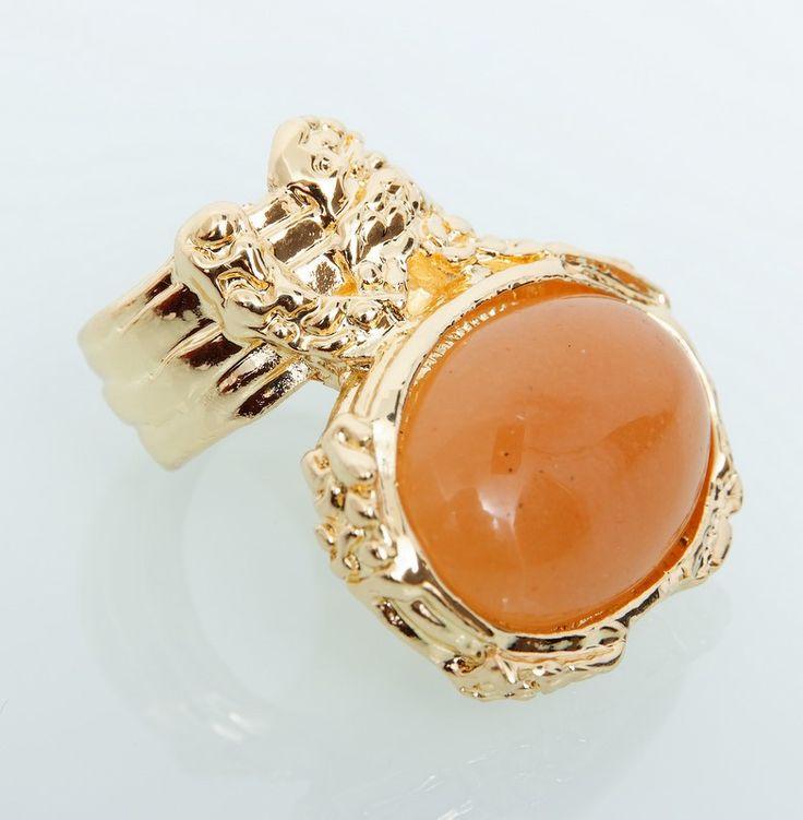 Кольцо YSL с оранжевым камнем #18989