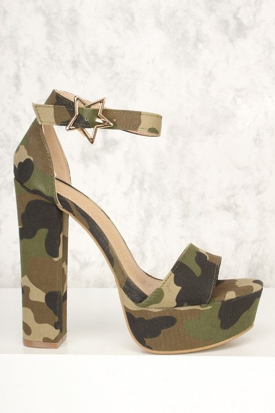 f4ba70d12512c Sexy Camouflage Canvas Open Toe Platform Pump Chunky High Heels in 2019 |  For Crying Out Shoes | Platform pumps, Platform high heels, Black platform  sandals
