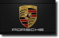 Porsche logo de voiture avec le nom centré dans l'image sur fond noir.