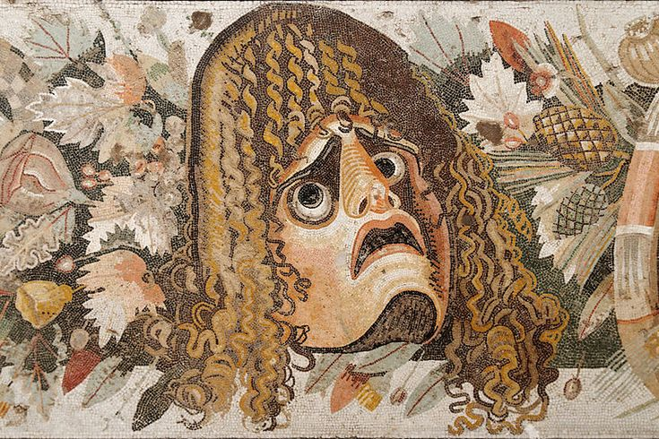 English: Masks, leaves and fruit, detail from a Roman mosaic. Medium: opus vermiculatum Dimensions: Height: 49 cm (19.3 in). Width: 280 cm (110.2 in). Current location Naples National Archaeological Museum From the House of the Faun, Pompeii (VI, 12, 2)