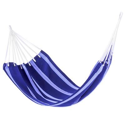 Cotton hammock, 'Ocean Song' (single) - Navy Blue Striped Cotton Artisan Crafted Single Hammock