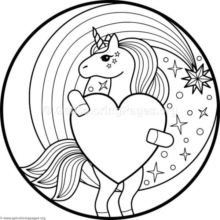 Unicorn and Heart Coloring Pages
