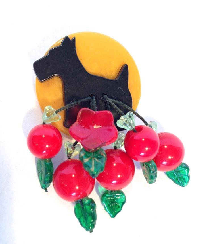 Vintage Bakelite Scotty and Cherries Brooch