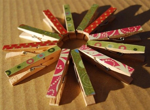 Christmas wrapping paper on clothespins