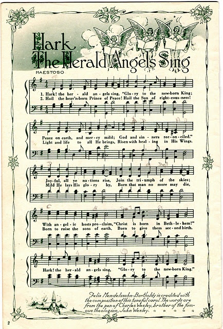 Christmas Sheet Music to frame or for scrapbooking and other Christmas crafts