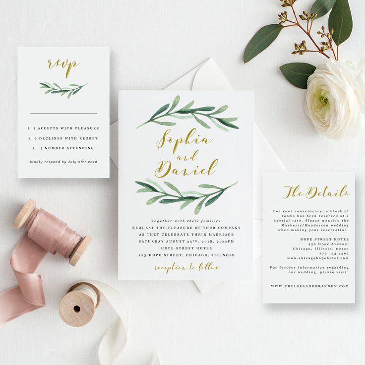 Greenery Wedding Invitation Printable Template, Rustic Wedding Invitation Suite, Watercolor Wedding Invitation, EDIT in MS WORD, Sophia by HopeStreetPrintables on Etsy https://www.etsy.com/listing/542279796/greenery-wedding-invitation-printable