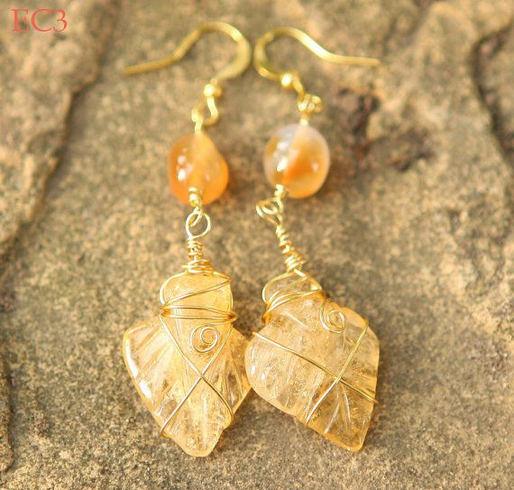 Jamie's Hand made Natural Citron Carved Leaf Gemstone Necklace & Earrings Set -SC1