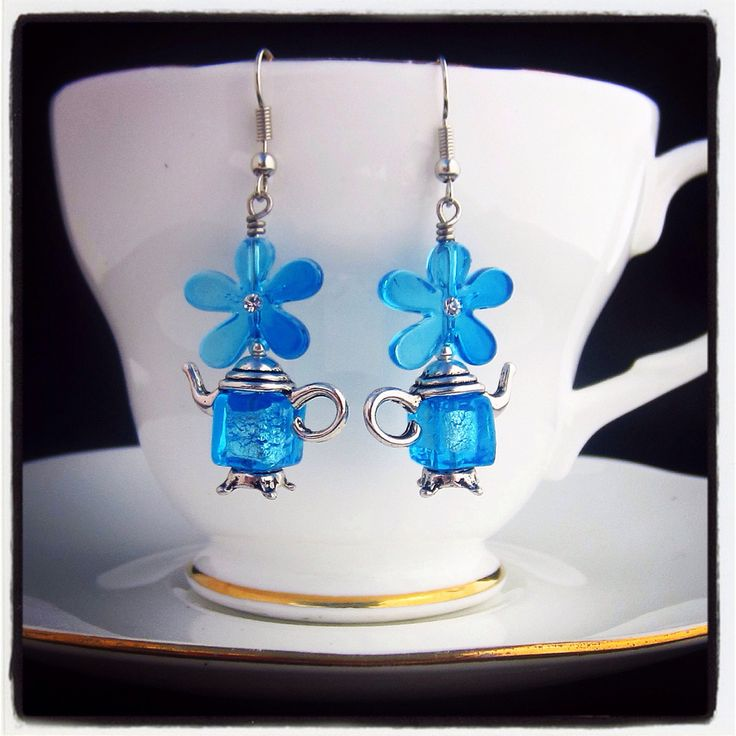 """I'm A Little Teapot"" vintage style floral Venetian glass teapot earrings  #jewelinateacup"