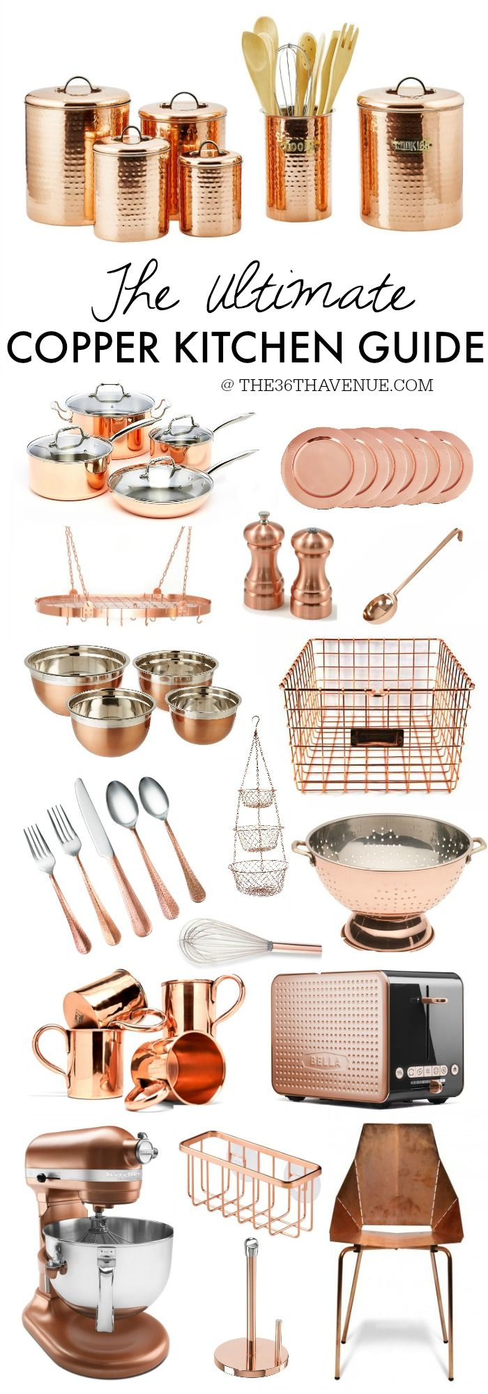 Copper Kitchen Decor - This is the Ultimate Copper Kitchen Guide. Everything you need to give your kitchen a fresh, trendy, and gorgeous new look! If you like gold rose tones you are going to love this!