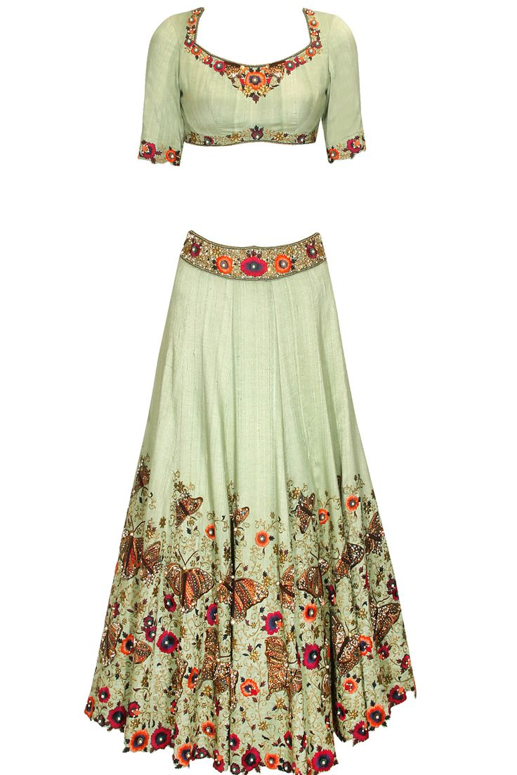 Mint green and coral floral and butterfly hand embroidered lehenga set available only at Pernia's Pop Up Shop.
