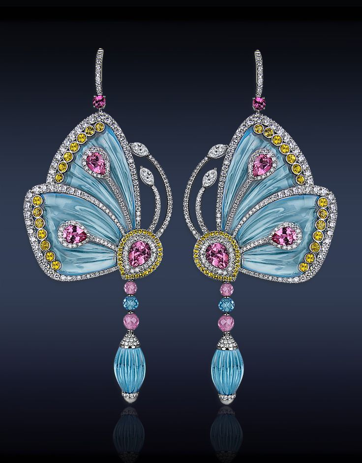 Jacob & Company Papillon Collection. Earrings Blue Topaz, Rose Tourmaline, Pink Tourmaline, Yellow Sapphires, White Diamonds.