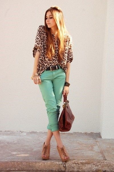 Loving all the brightly colored jeans and prints this season