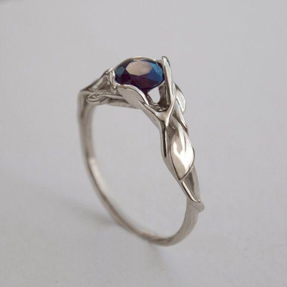 Leaves Engagement Ring - 14K White Gold and Sapphire engagement ring, engagement ring, leaf ring, filigree, antique, art nouveau, vintage