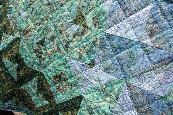 CLEARANCE SALE Batik Patchwork Quilt Freshwater by PingWynny