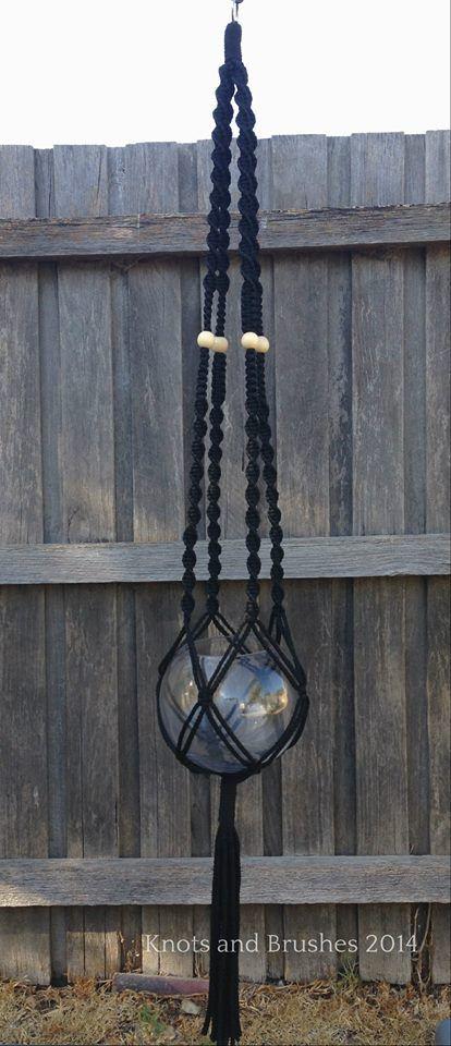 Macramé Hanging Basket - Black www.knotsandbrushes.com.au