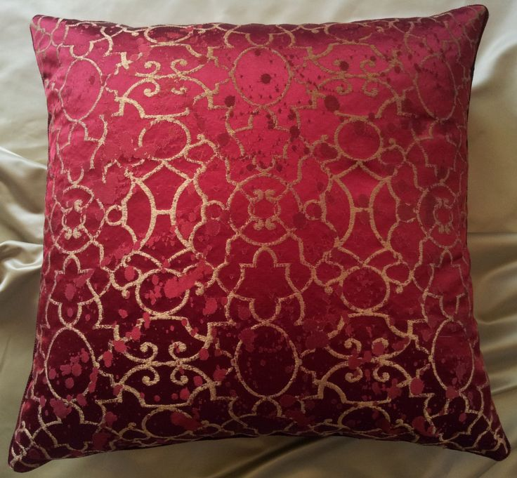 Throw Pillow Cushion Cover Silk Damask Rubelli Fabric Red and Gold Morosini Pattern - Handmade in Italy by OggettiVeneziani on Etsy