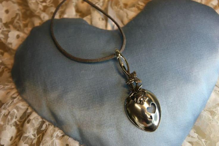 Pendant, made of old silverspoon. Handmade by Goldsmith Sanna Hytönen, Suolahti.  http://www.kultaseppasannahytonen.com/